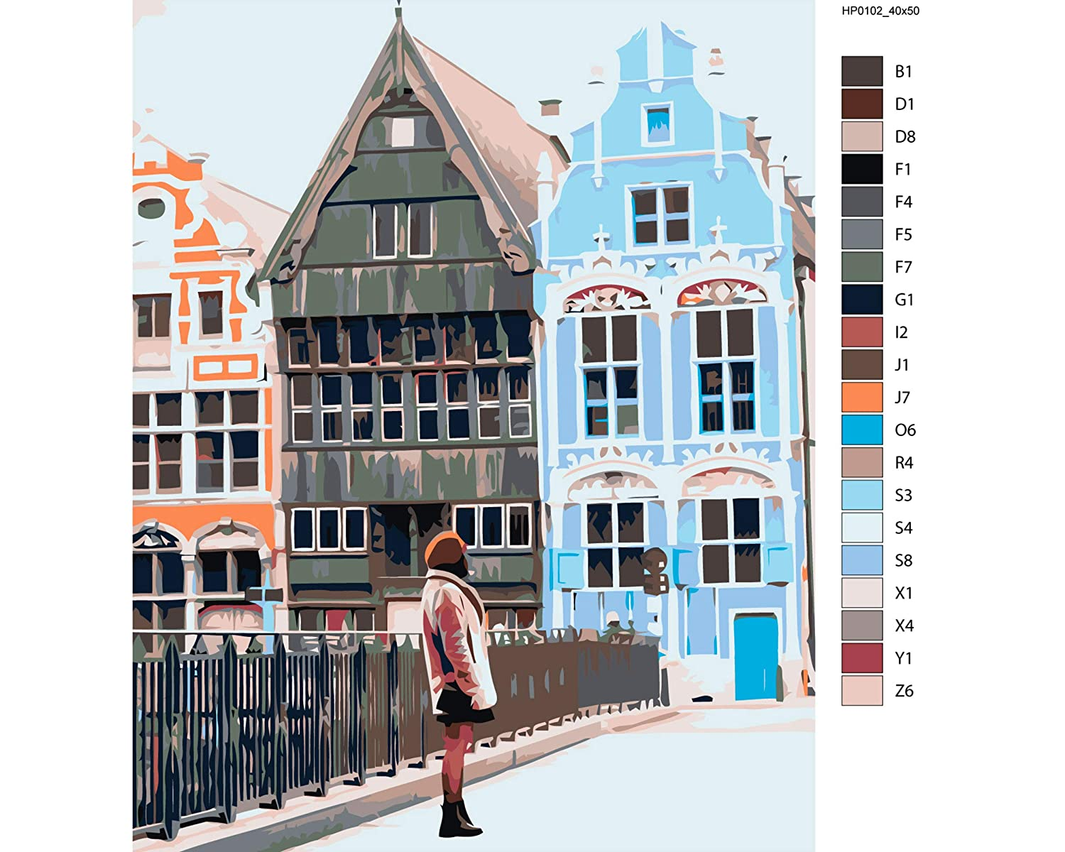 Old City Canvas Painting Art Design Picture DIY Canvas Cute Girl Painting Number Kit Acrylic Painting Architecture Home Decor High-Quality Picture