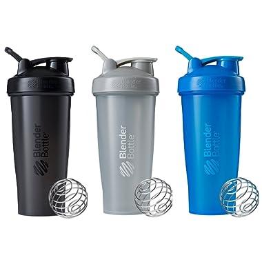 BlenderBottle Classic Loop Top Shaker Bottle 3-Pack, 28 oz, Colors may vary