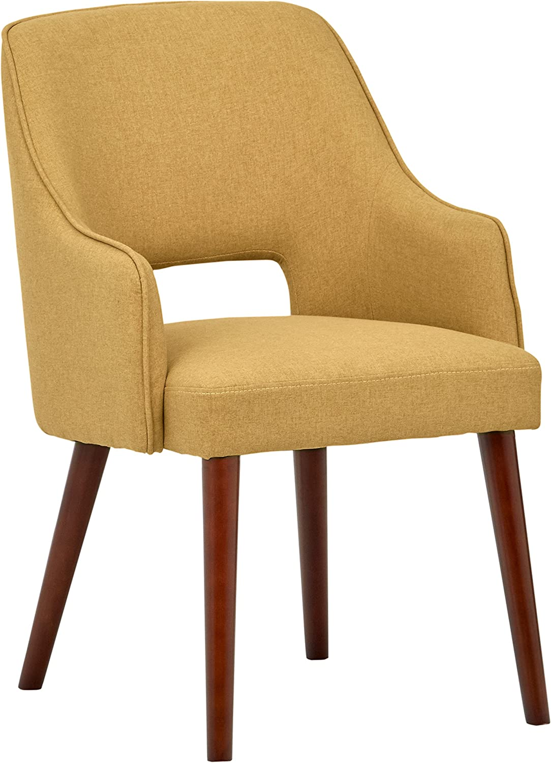 """Rivet Whidbey Mid-Century Open Back Accent Dining Chair, 22.8""""W, Canary"""
