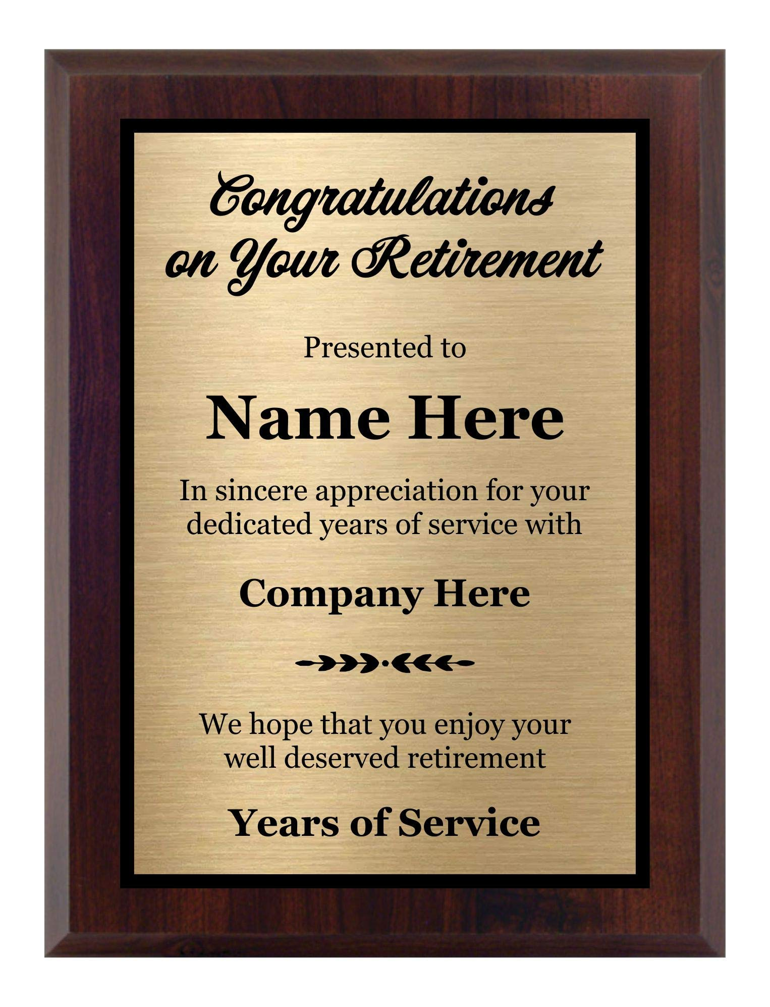 Customized Retirement Plaque 8x10, Personalized Gift for Co-Worker, Award for Women and Men. Customize Now! by Awards4U