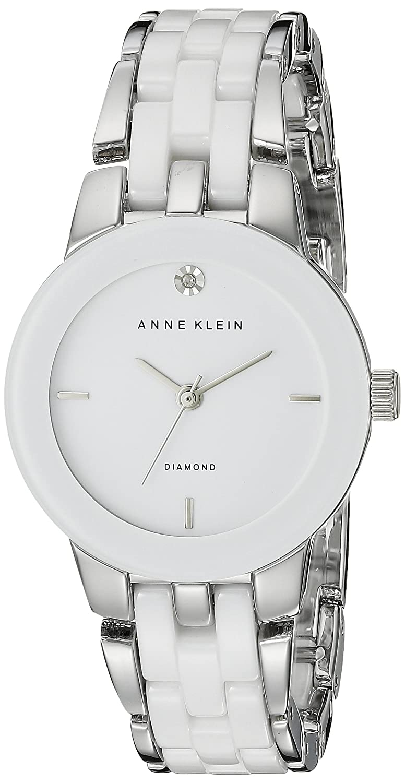 Anne Klein Damen Quarzuhr mit weißem Zifferblatt Analog-Anzeige und Rose Gold Keramik Armband – AK-n1610wtrg