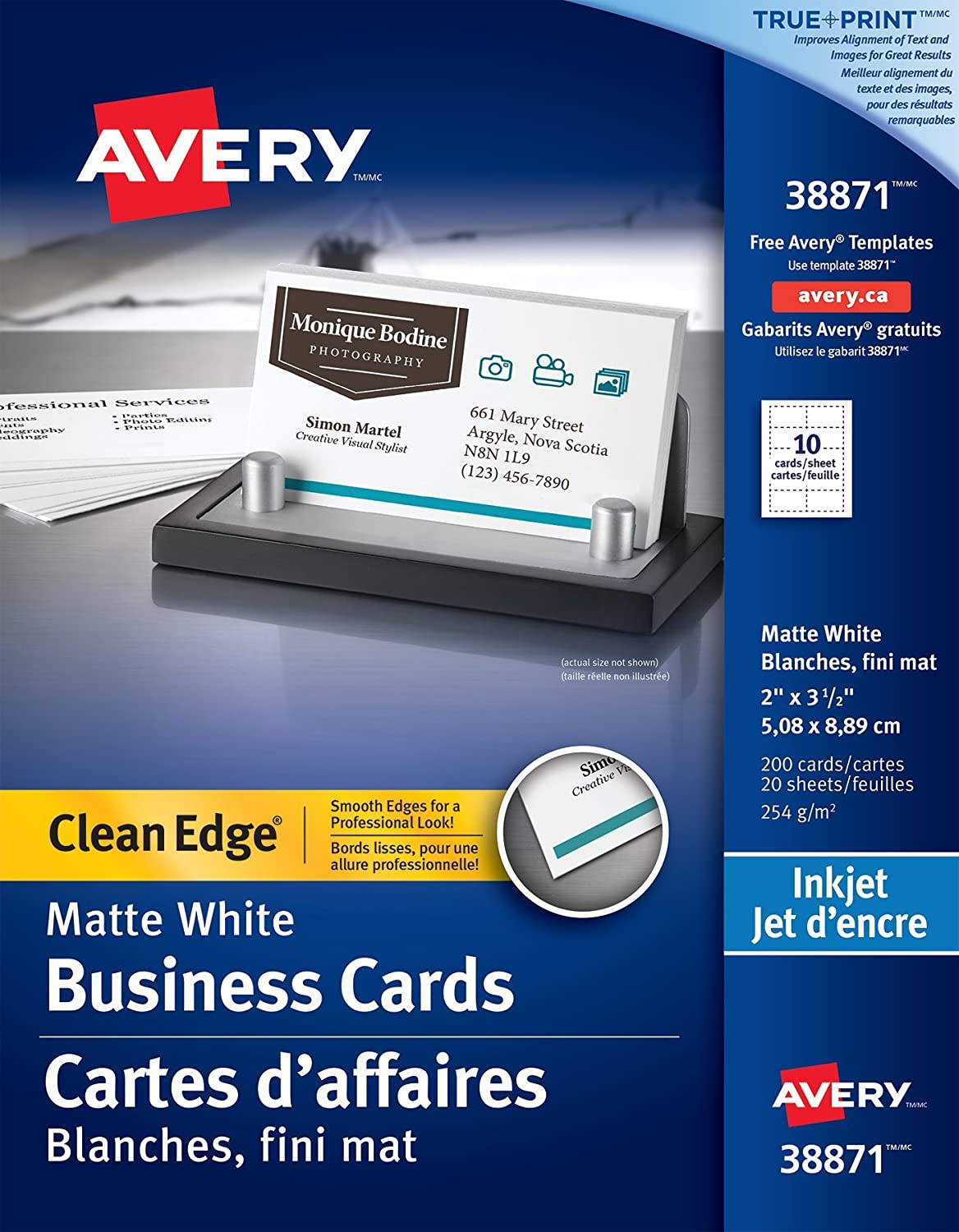Avery Clean Edge Business Cards for Inkjet Printers, 2 x 3-1/2, White, Matte Coated, 200 Pack, Rectangle (38871) 2 x 3-1/2 Avery Dennison CA