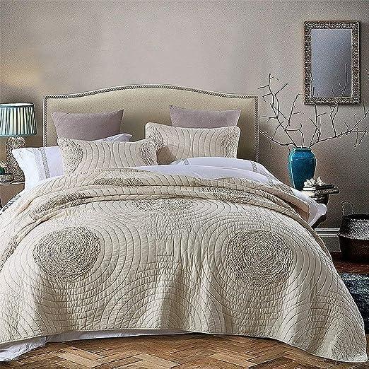 Amazon Com Brandream Queen Size Quilt Set 100 Cotton Beige Quilt
