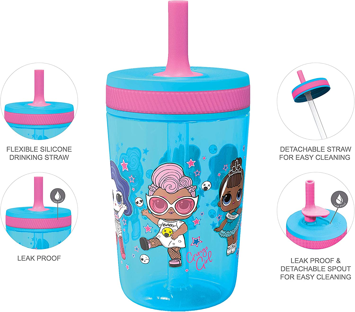 2pc Set Zak Designs Dreamworks Trolls 2 Movie Poppy Kelso 15 oz Tumbler Set BPA-Free Leak-Proof Screw-On Lid with Straw Made of Durable Plastic and Silicone Perfect Bundle for Kids