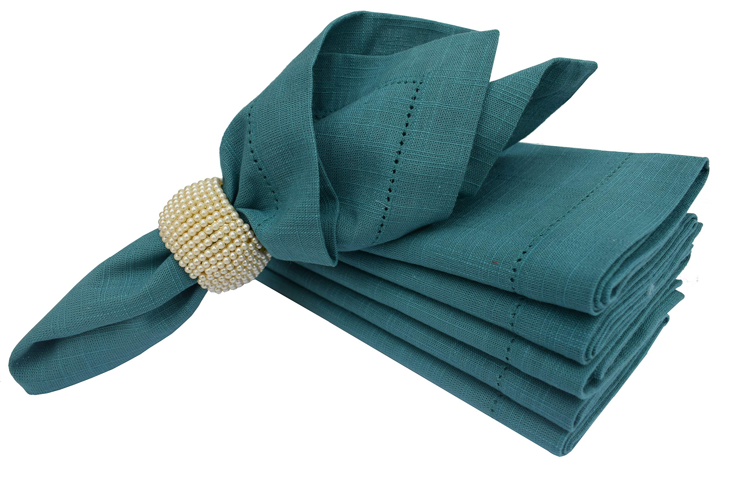 Linen Clubs 6 Pack Slub Cotton Dinner Napkins Teal Color,18x18 Inch with Mitered Corner Finish & Hemstitched Detailing Offered