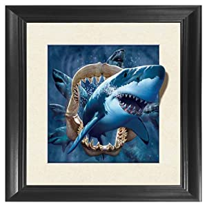 Shark 5D / 3D Poster Wall Art Decor Framed Print | 18.5x18.5 | Lenticular Posters & Pictures | Memorabilia Gifts for Guys & Girls Bedroom | Underwater Sea Animal & Ocean Nautical Theme Photo