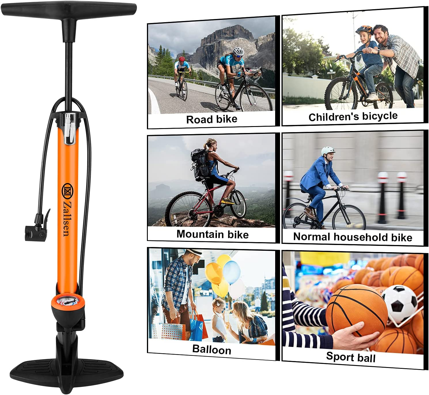 Zallsen Bike Pump High Pressure Ergonomic Bike Floor Pump with Pressure Gauge Fits Presta & Schrader with Max 160 PSI for Bikes, Balls and Inflatable Toys Quality Durable Easy to Use(Orange) : Sports & Outdoors