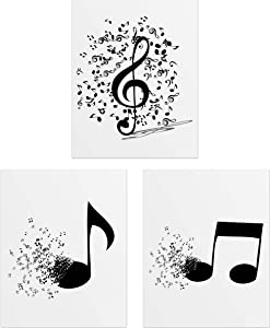 Summit Designs Music Notes Wall Decor - Set of 3 (8x10) Poster Photos - Eighth Note - Treble Clef