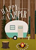 Dyrenson Decorative Happy Camper Garden Flag Double Sided, Home Rustic Camping Trailer House Yard Flag, Inspirational…
