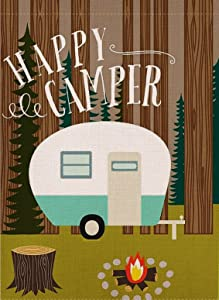 Dyrenson Decorative Happy Camper Garden Flag Double Sided, Home Rustic Camping Trailer House Yard Flag, Inspirational Quote Campsite Garden Yard Decorations, Vintage Seasonal Outdoor Flag 12 x 18