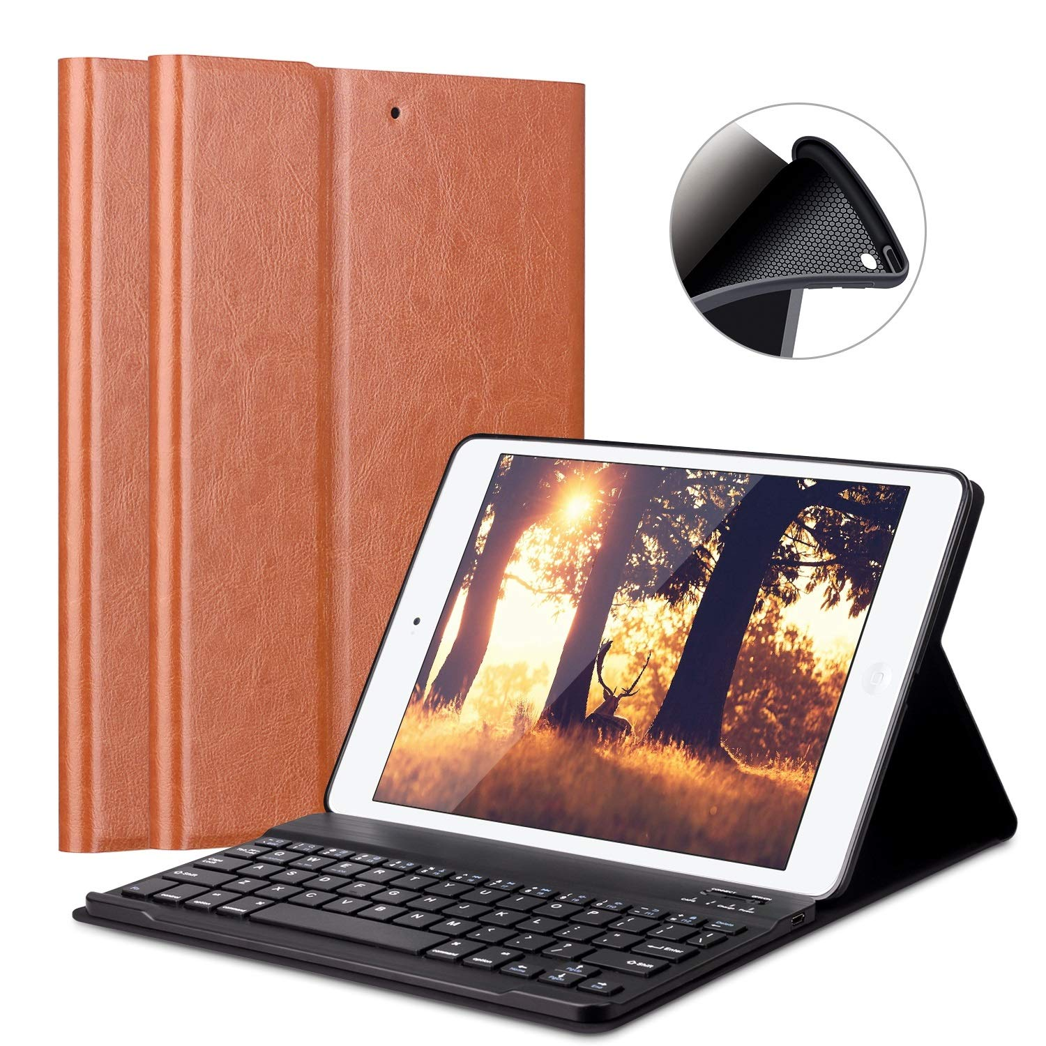 [Upgrade]Keyboard Case for New iPad 2017 9.7'/iPad Air/Air 2-LUCKYDIY Keyboard Stand Cover with[Soft TPU Case Protection]+[View Angle Adjustable]+[Magnetically Detachable Bluetooth V3.0 Keyboard] iPad 9.7 2018 / 2017 / iPad Air1 / Air2