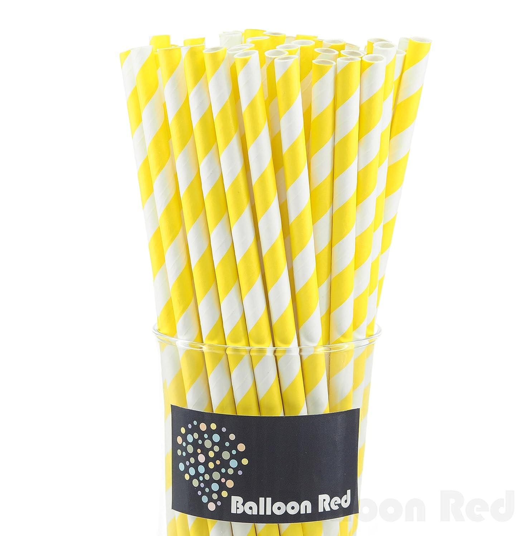 Yellow & White Paper Straws (50 ct)