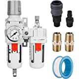 NANPU 1/2' NPT Compressed Air Filter Regulator Lubricator Combo Water/Oil Trap Separator - Gauge(0-150 psi), Poly Bowl…