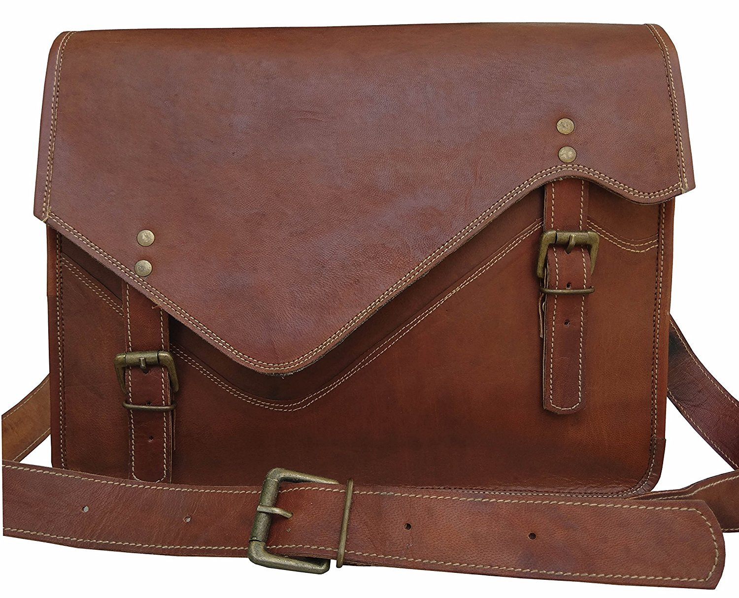 VINTAGE COUTURE Leather Vintage 15 Inch Laptop Messenger Bag briefcase Satchel for Men and Women plastic