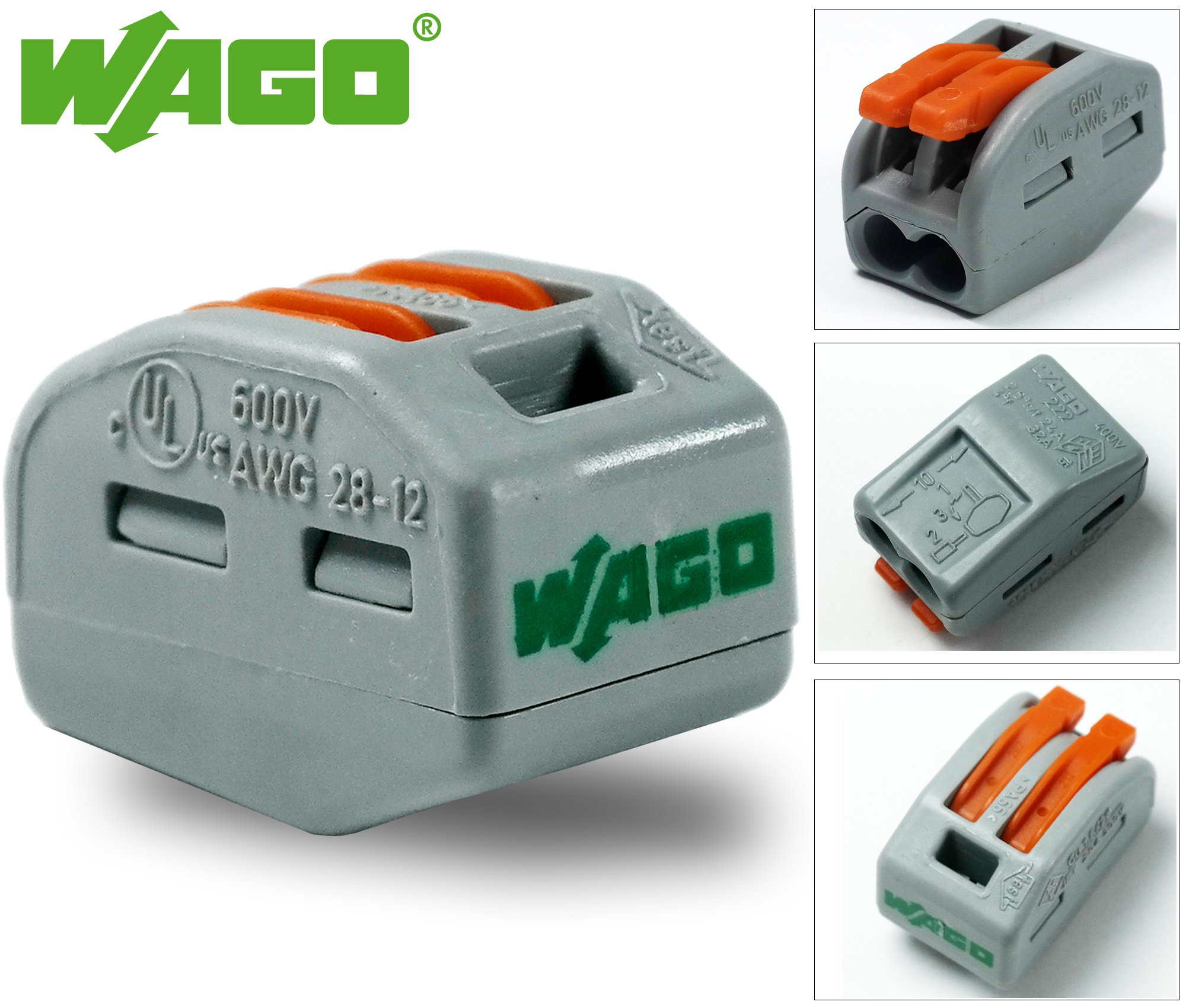 Wago 222-412 Lever-Nuts 2 Conductor (2 Way) Conductor Compact Connectors Terminal Block 12-28 AWG, 32A, 2 Port (Pack of 20)