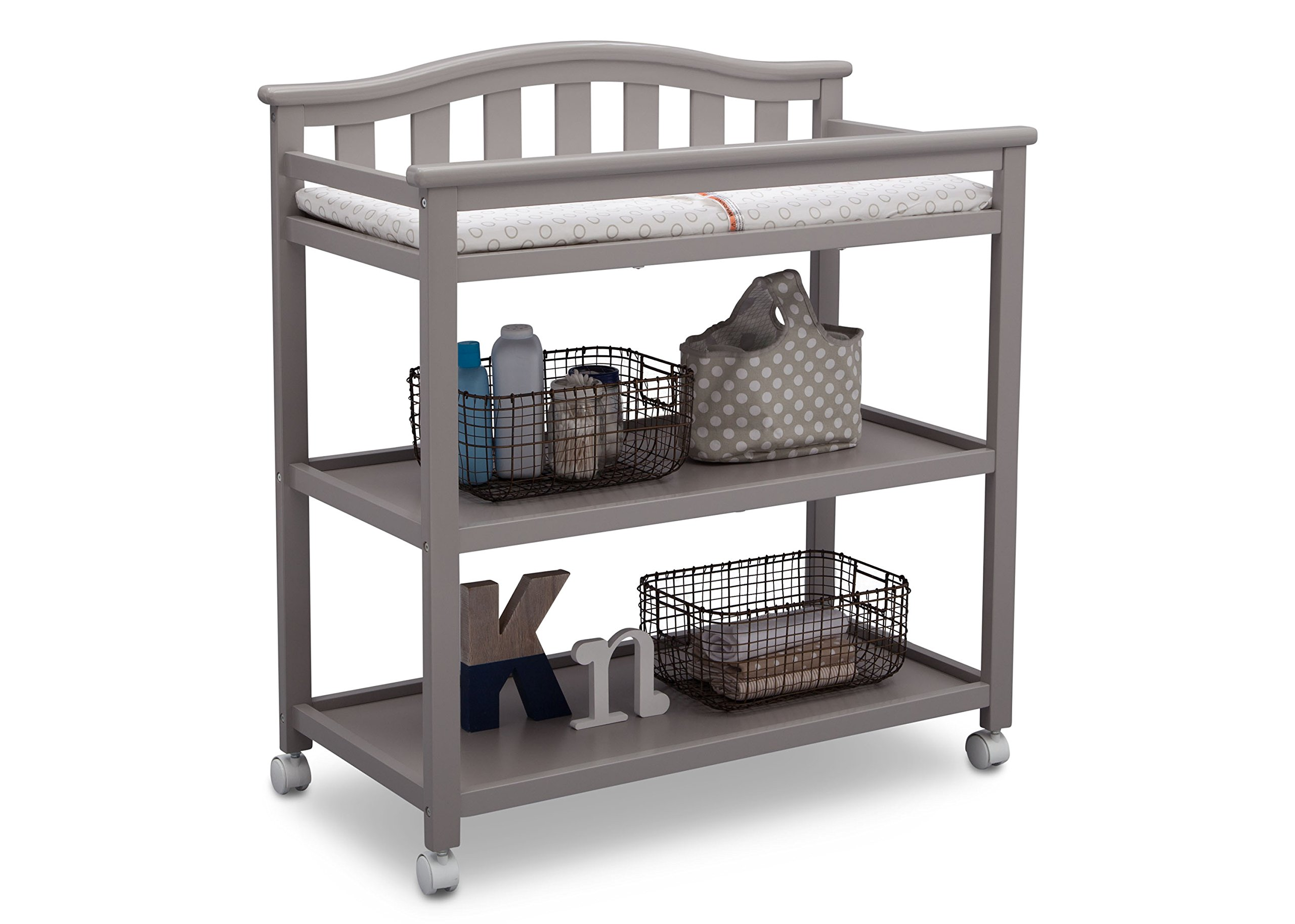 Delta Children Bell Top Changing Table with Casters, Grey by Delta Children (Image #4)
