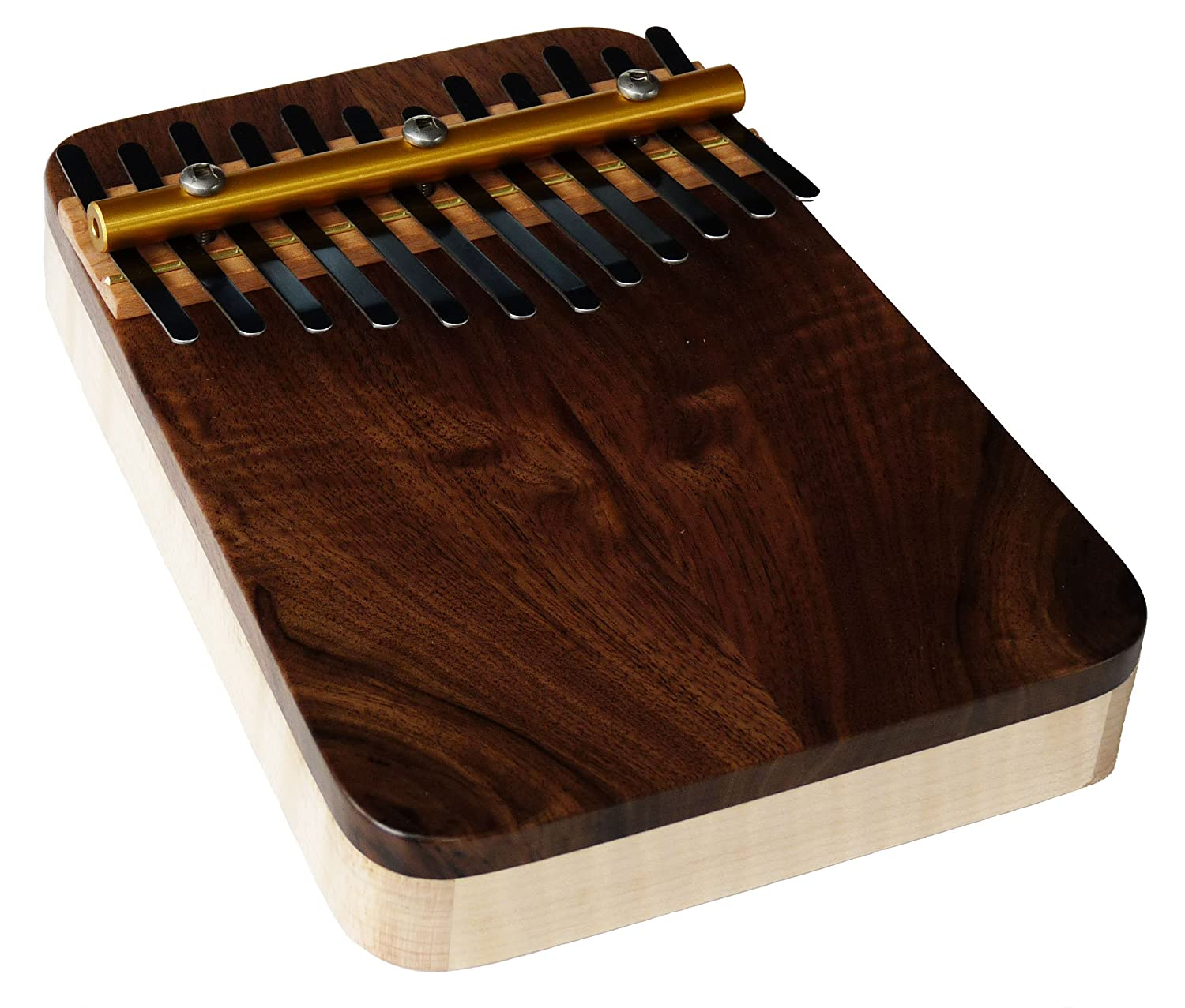 Zither Heaven Artisan Curly Maple 12 Note Thumb Piano with Black Walnut top made in the USA M12NoteBWtop