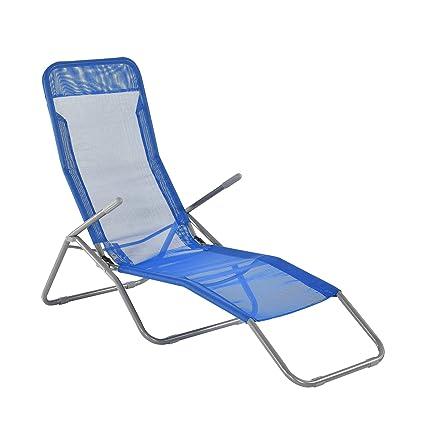 [casa.pro]®] Bain de Soleil Transat Chaise Longue Pliable Acier Pliable 190 x 60 x 98 cm Bleu