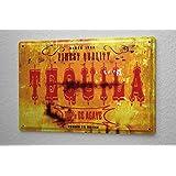 M.A. Allen Rétro plaque en métal emaillee US Déco Tequilla Mexique poster publicité nostalgique