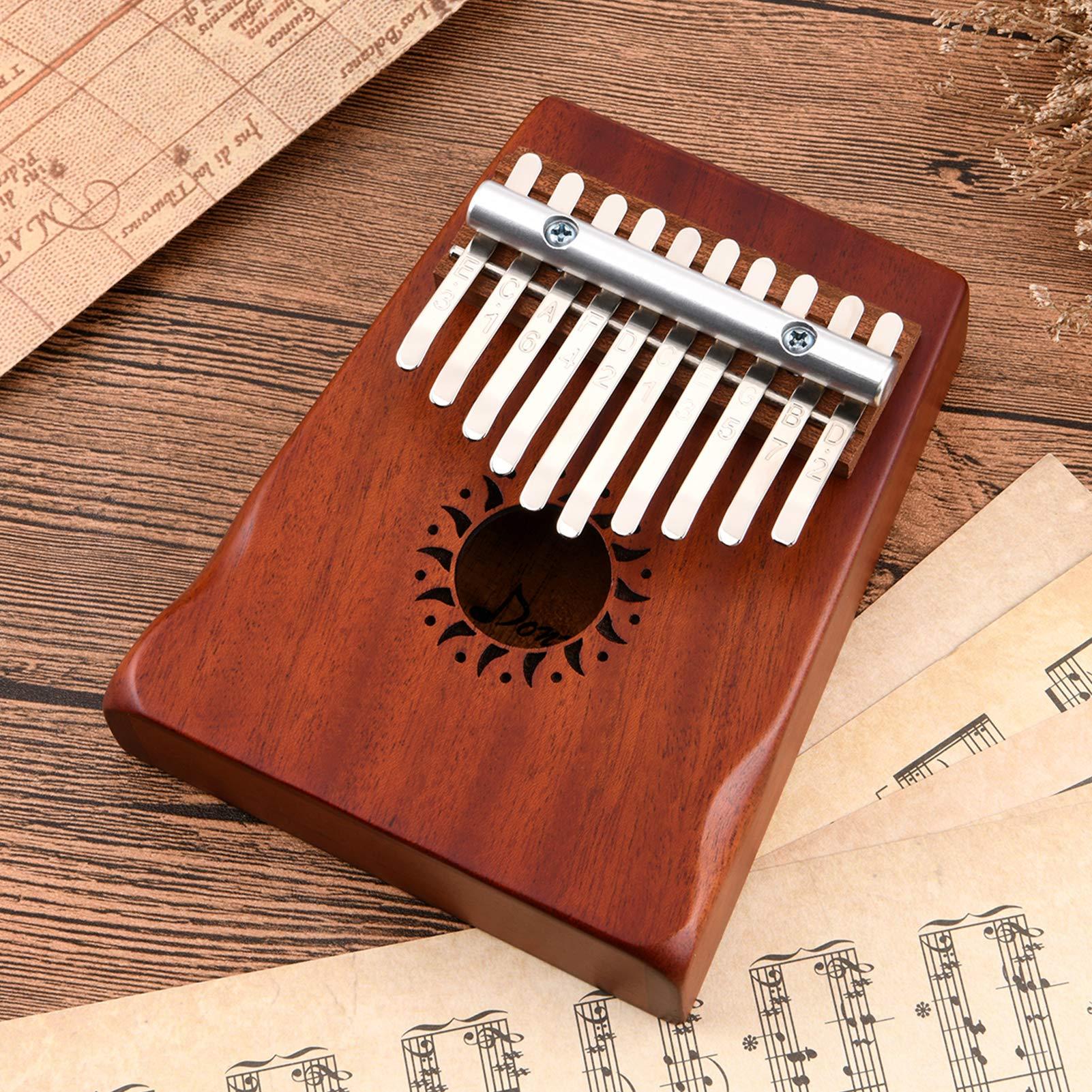Donner Kalimba 10 Key Thumb Piano Solid Finger Piano Mahogany Body with Case, DKL-10