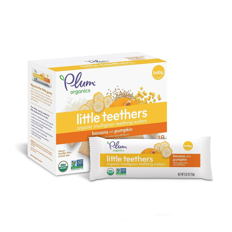 Plum Organics Little Teethers, Organic Baby Teething Wafers, Banana with Pumpkin, 3 Oz, 6 Count