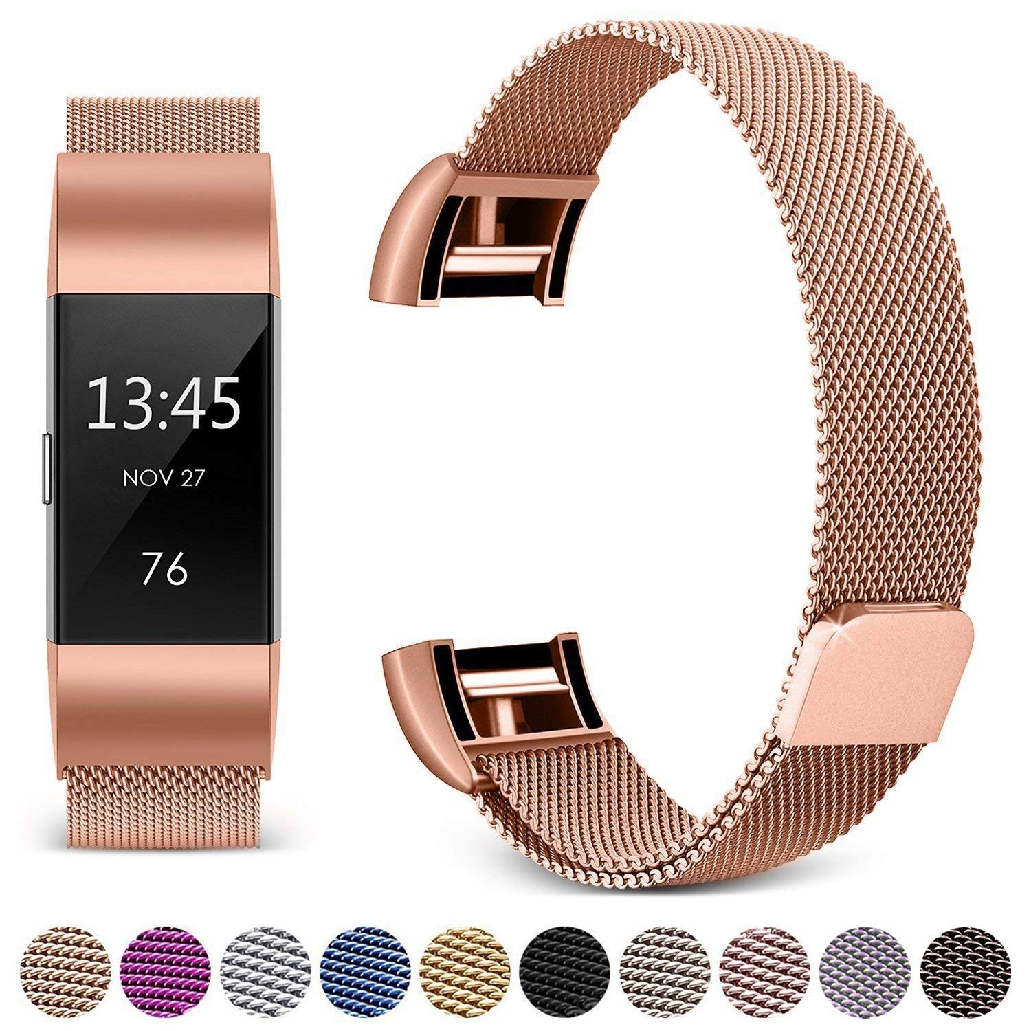 Hotodeal Band Compatible Fitbit Charge 2 Bands, Band Milanese Loop Stainless Steel Magnet Metal Replacement Bracelet Strap, Wristbands Accessories Women Men Small Large Silver