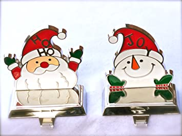 pair of christmas stocking hangers for mantle or shelf santa snowman metal weights - Stocking Hangers For Mantle