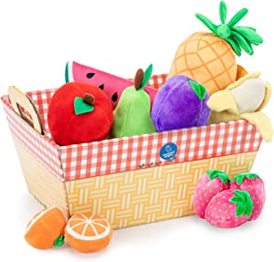 Educational Insights Plush Fruit Basket 12-Piece Set, Pretend Play Food, Early-Learning Skills, Ages 2+