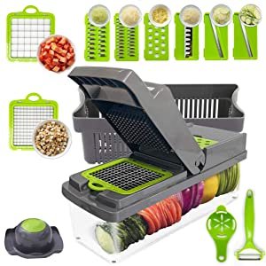 Onion Chopper, Slicer, Vegetable Chopper, Cutter, Dicer, Spiralizer Vegetable Slicer with Container and 8 Blades, Stainless Steel Food Chopper for Fruit Salad - 14 in 1 Set