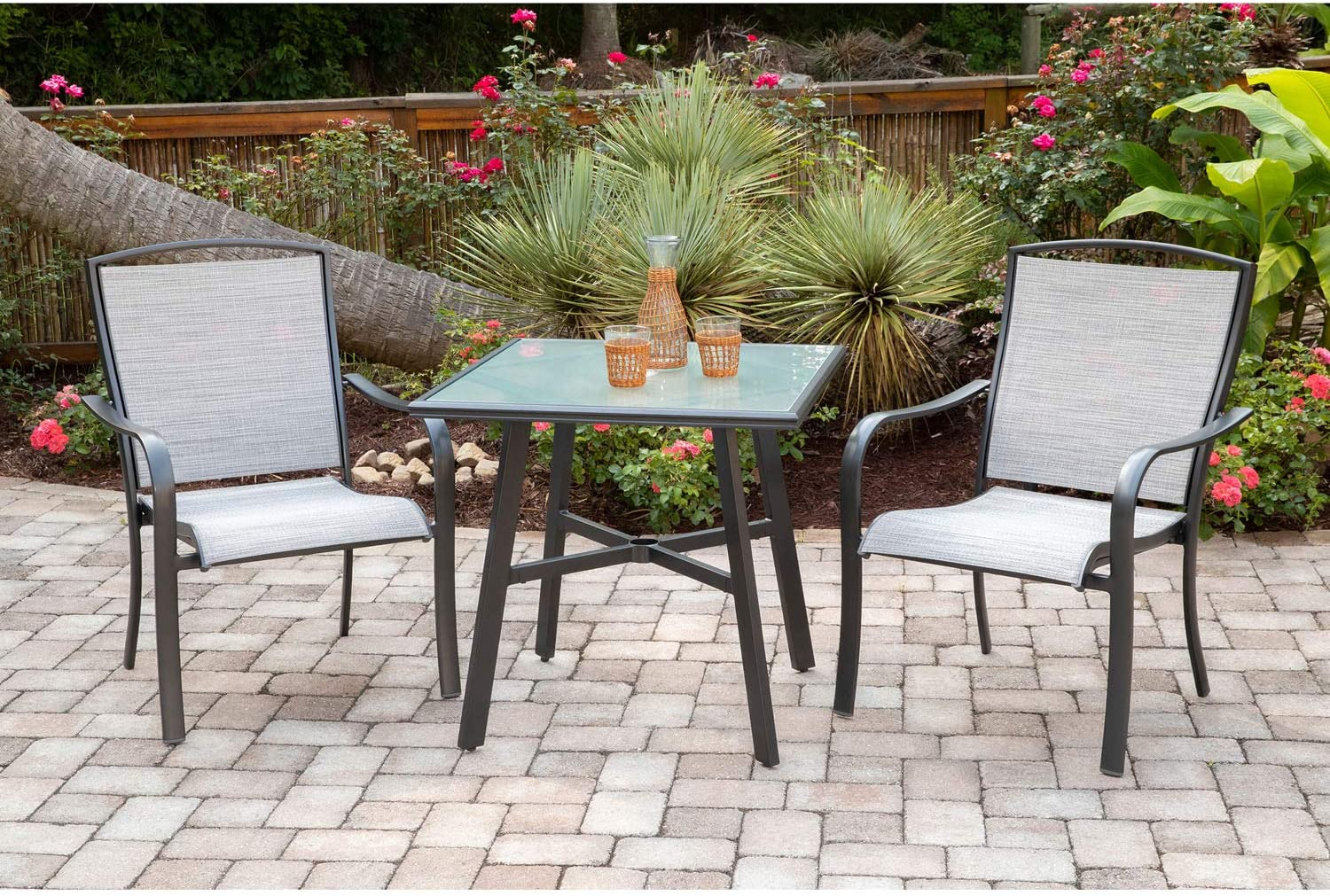 Hanover FOXDN3PCG-GRY Foxhill 3-Piece Grade Bistro Set with 2 Sling Dining Chairs Commercial Outdoor Furniture, Gray/Gunmetal