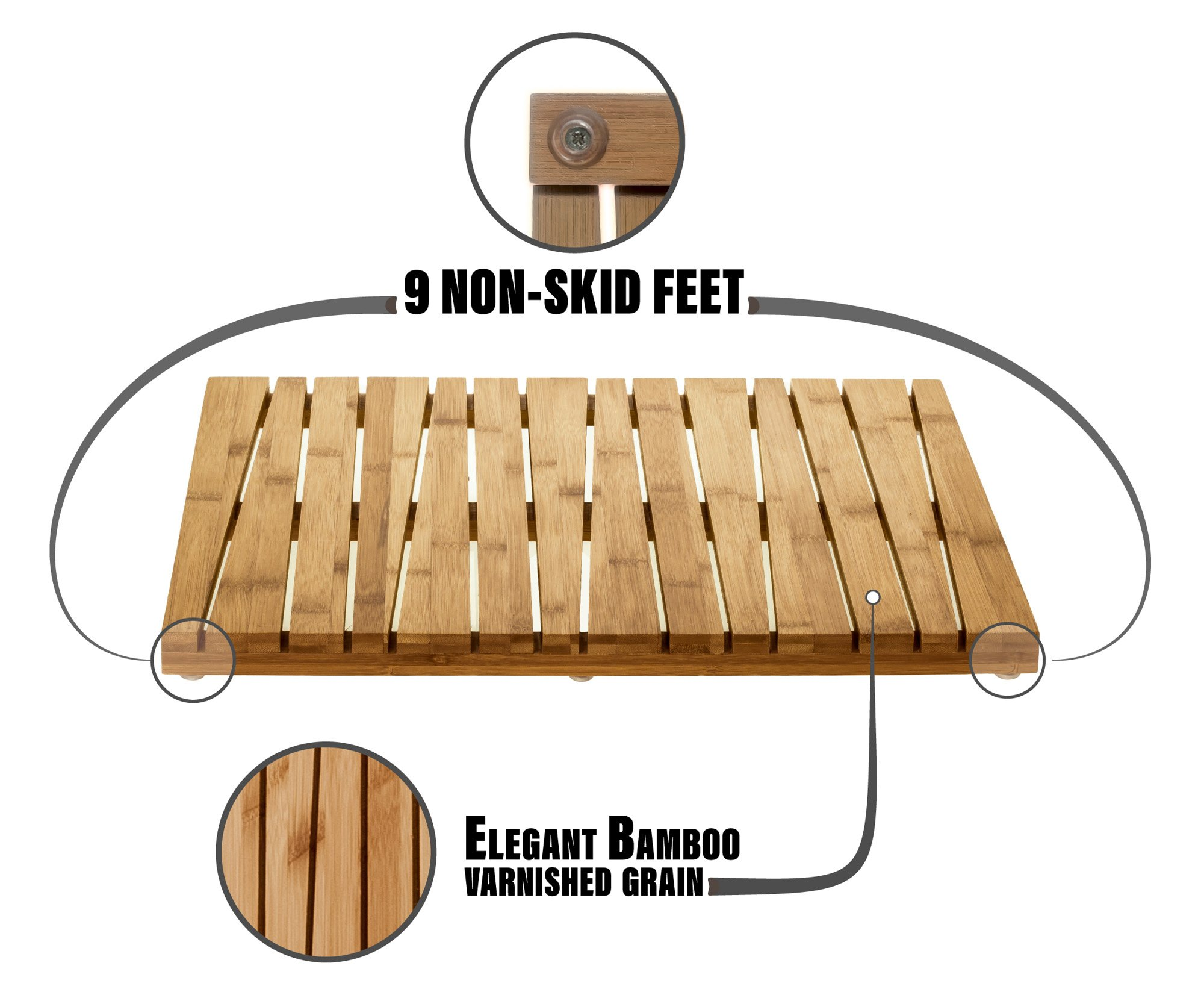 Prosumer's Choice Natural Bamboo Vented Floor Mat for Bathtub or Bath Floor Spa/Estate Shower w/Skid Resistant Feet by Prosumer's Choice (Image #4)
