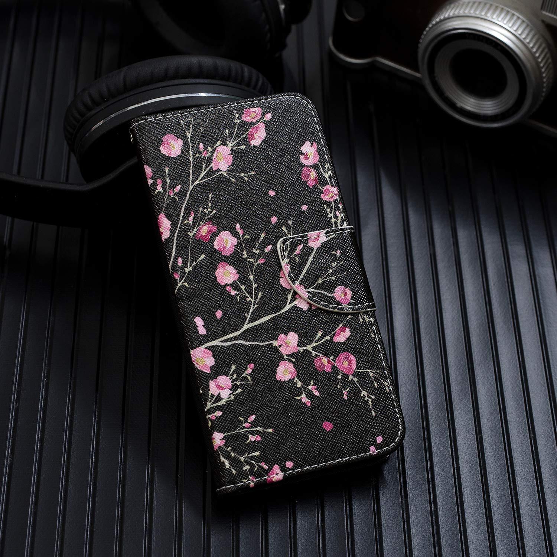 Funda Piel con Tapa Suave TPU y Cuero de PU Carcasa Negro Flip Case Cover Xiaomi Redmi Note 7 Flor Cierre Magn/ético,Funci/ón de Soporte Incorporado Leton Funda Xiaomi Redmi Note 7