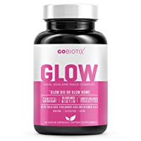 GoBiotix Glow | Hair, Skin and Nails Vitamins | 10,000mcg Biotin | Multivitamin with Hyaluronic Acid, Folic Acid, Iron, Magnesium, Zinc | Antioxidant-Rich| Boosts Collagen Production - 90 Veggie Caps