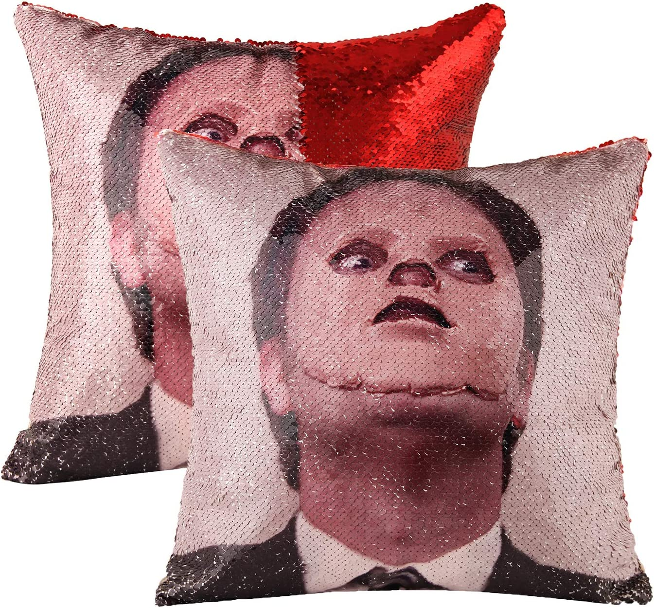 cygnus The Office Dwight Schrute Sequin Pillow Covers Mermaid Magic Reversible Decorative Change Color Pillow Covers 16x16 inch Funny Gag White Elephant Gifts,Red