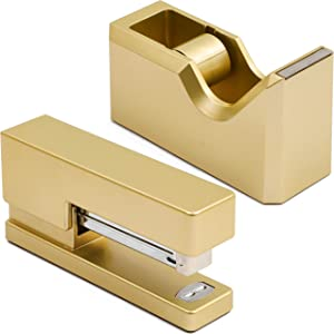 Gold Office Stapler and Tape Dispenser Set (Matte Gold, 2 Pieces)