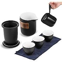 Portable Travel Kungfu Tea Set Japanese style Coarse Pottery Tea Set with Portable Travel Bag Black
