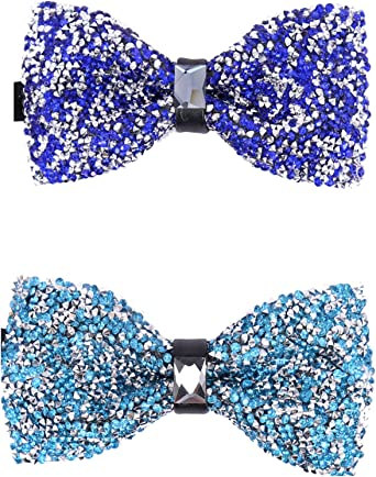 Sky blue Bow Tie Collection Mens Pre-tied Wedding Prom Knit Satin Crystal