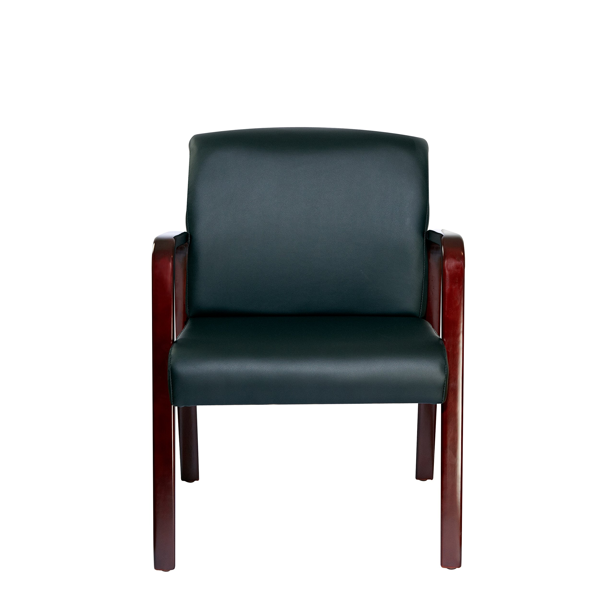 Alera ALERL4319M Reception Lounge Series Guest Chair, Mahogany/Black Leather by Alera (Image #11)