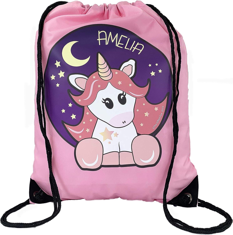 Personalised Unicorn PE Gym Bag Dance Sports Swim School Bag Drawstring Bag