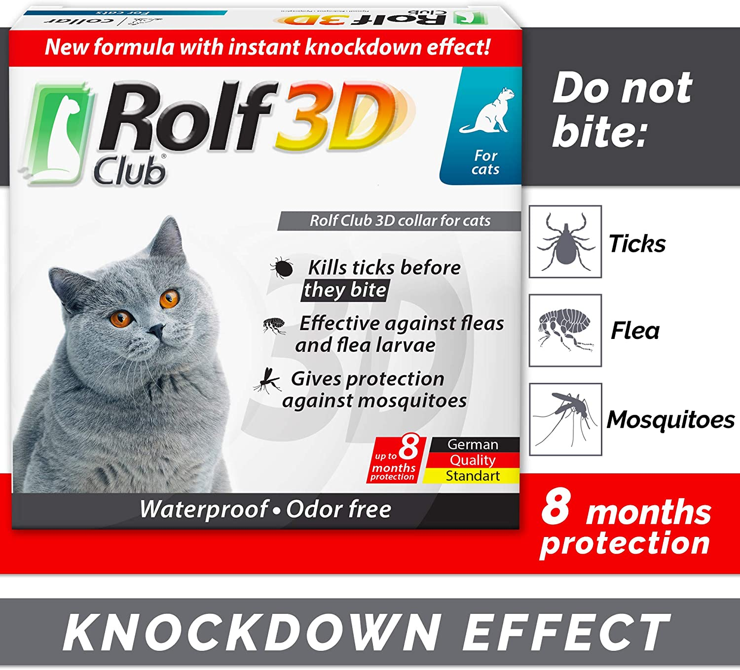 Rolf Club 3D FLEA Collar for Cats - Flea and Tick Prevention for Cats - Cats Flea and Tick Control for 8 Months - Safe Tick Repellent - Waterproof Tick...