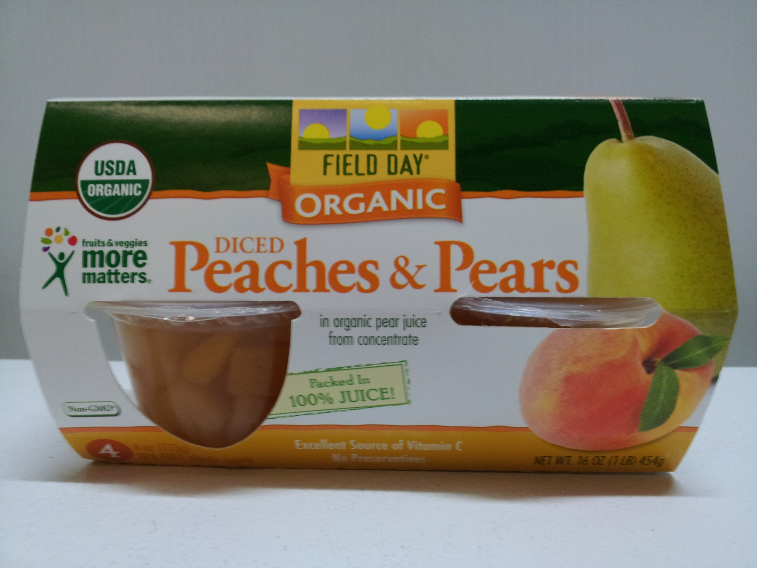 Field Day Organic Diced Peaches and Pear, 4 Ounce - 4 per pack - 6 packs per case.