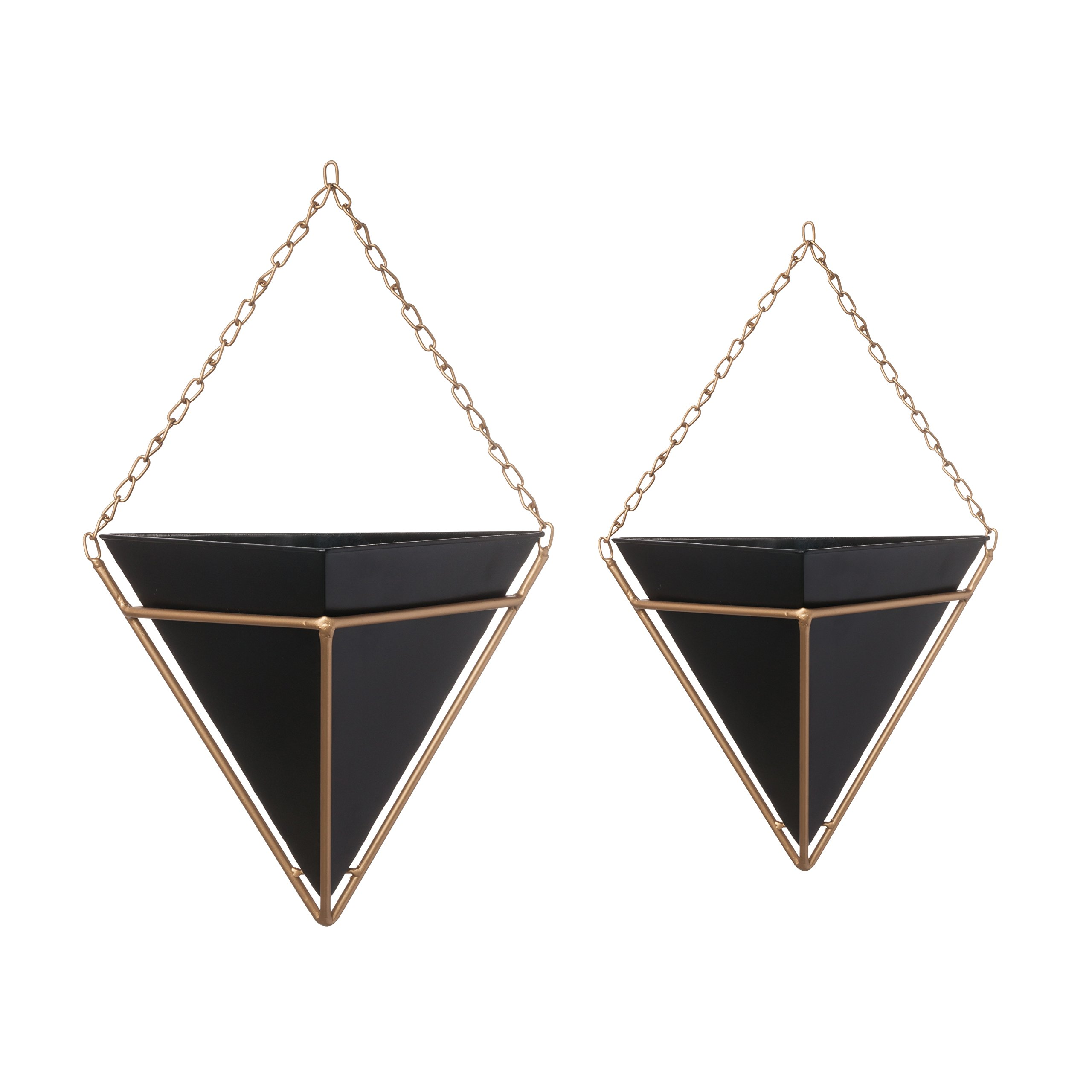 Pine & Paint Wall Pocket Hanging Planters Set of 2 Triangular with Gold Chain & Frame (Black) by Pine & Paint