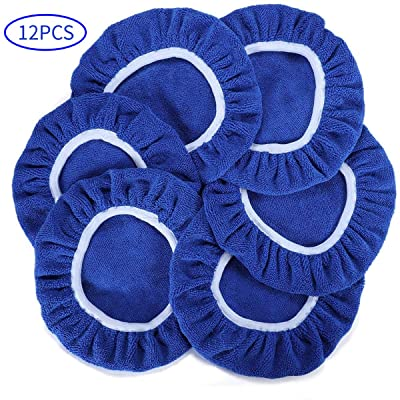 AUTDER Car Polishing Pads (5 to 6 Inch) Polisher Bonnet - Soft Mircofiber Max Waxer Pads - Polishing Bonnet for Most Car Polishers 12Pcs - Blue: Automotive