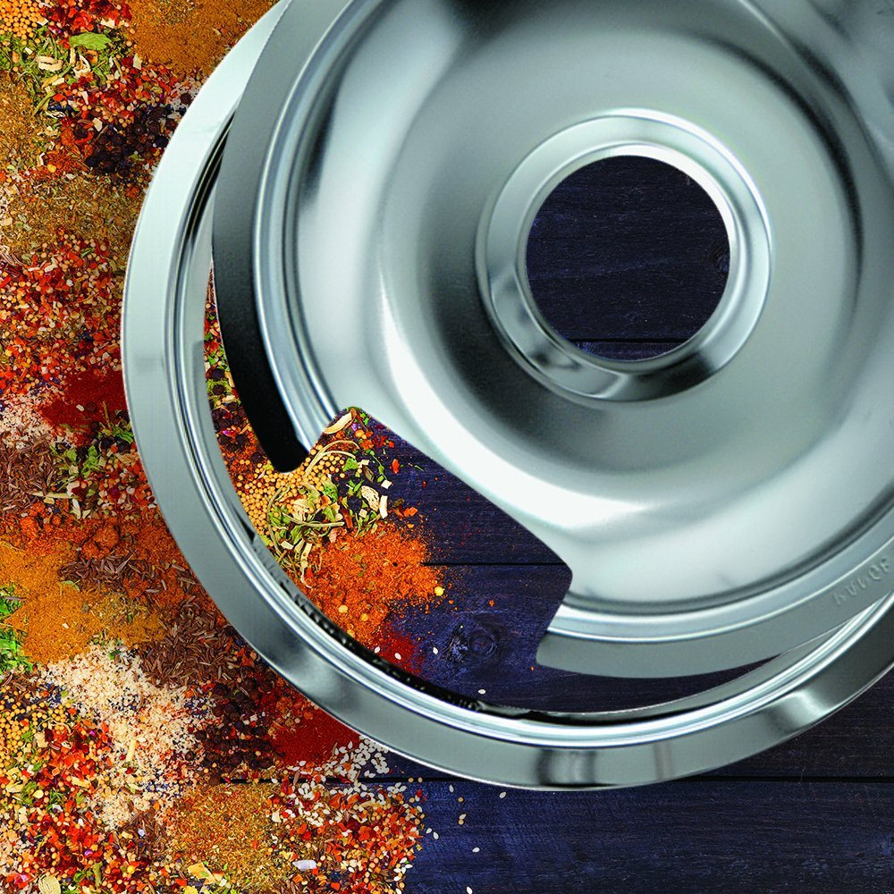 Range Kleen 1056RGE8 Style D Heavy Duty Chrome 4-Pack Drip Pans and 4-Pack Trim Rings for GE/Hotpoint