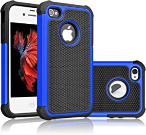 Tekcoo Compatible for iPhone 4S Case/iPhone 4 / 4G Cover, [Tmajor] Shock Absorbing Hybrid Best Impact Defender Rugged Slim Grip Bumper Cover Shell Plastic Outer & Rubber Silicone Inner [Blue/Black]
