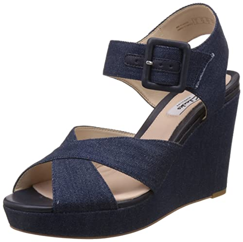 ce4146fa1083 Clarks Women s Lonan Grace Denim Blue Leather Fashion Sandals - 7 UK India  (41