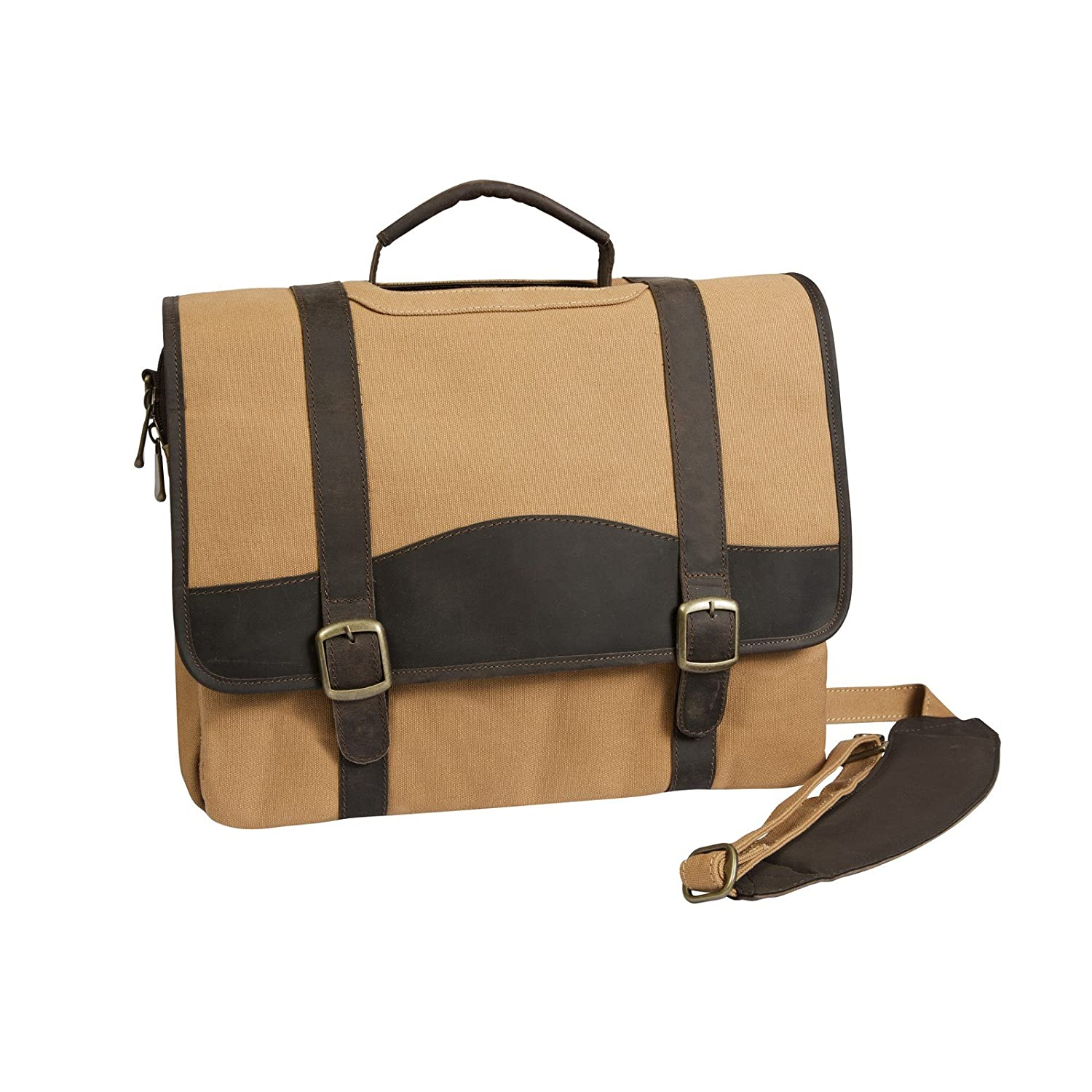 Brown Canyon Outback Elk Valley Canvas and Leather Computer Briefcase