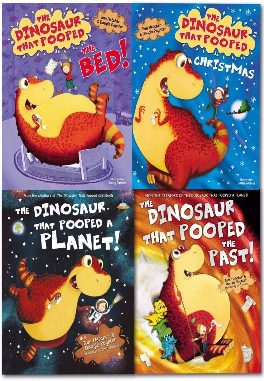 The Dinosaurs That Pooped Collection 4 Books Pack Set The Dinosaur That Pooped A Lot!, The Dinosaur That Pooped The Past, The Dinosaur That Pooped Christmas, The Dinosaur That Pooped A Planet: