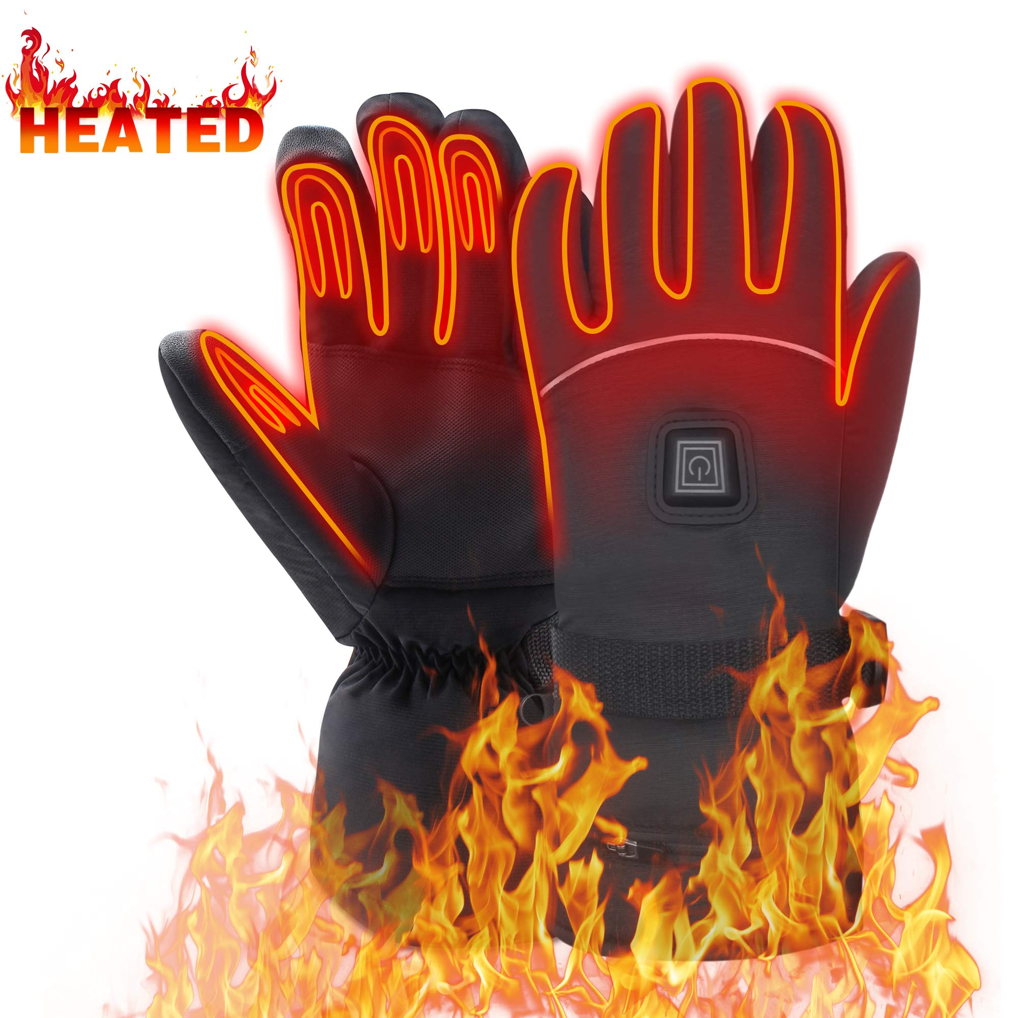 Heated Gloves for Men Woman Hand Warmers Electric Btteries Gloves Motorcycle Gloves with 7.4 V Rechargeable Batteries Heating Gloves for Hunting Shoveling Snowballs Riding (XL) by MMlove