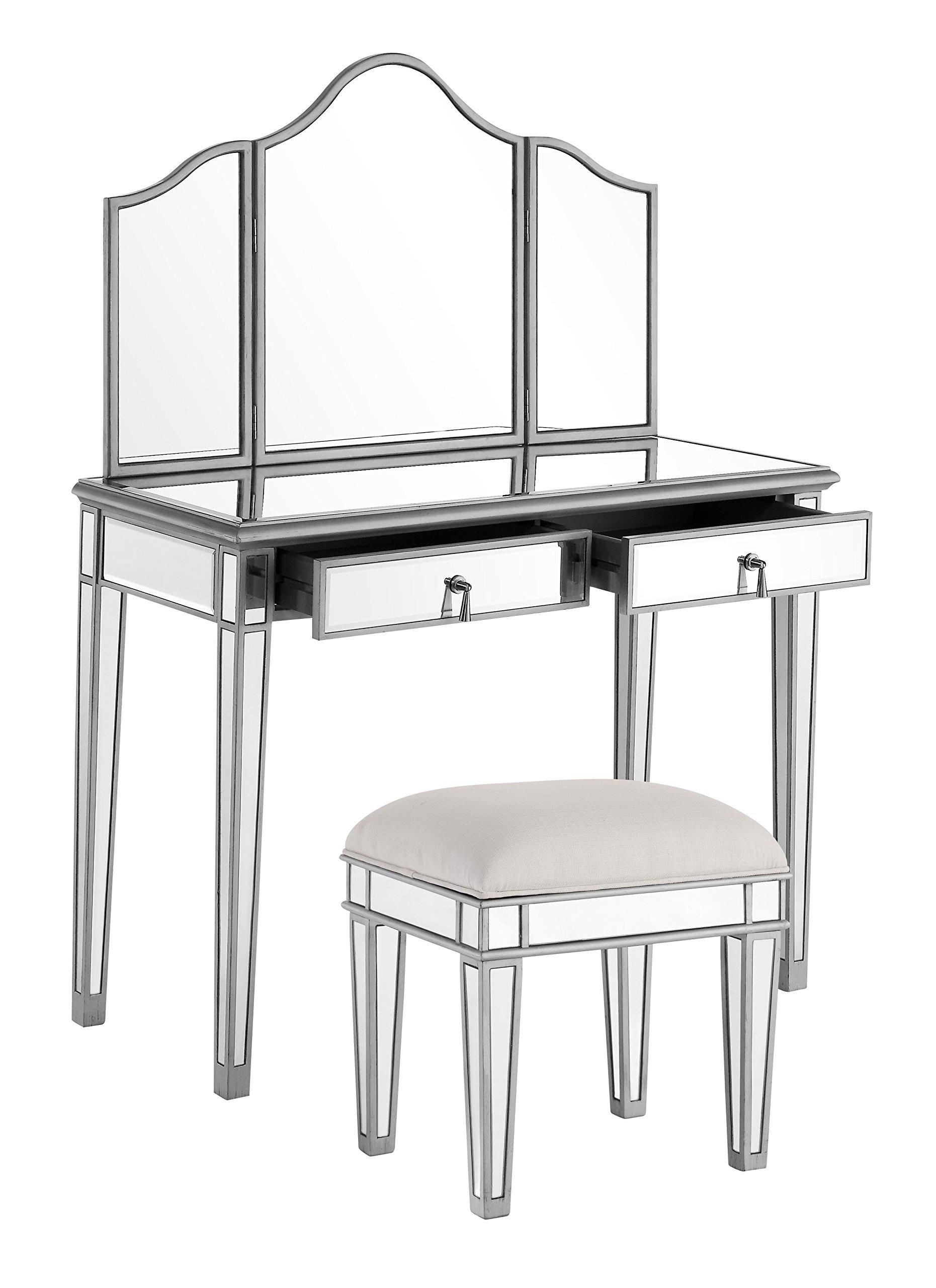 Elegant Lighting Chamberlan Mirrored 3 Piece Vanity Table Set by Elegant Lighting